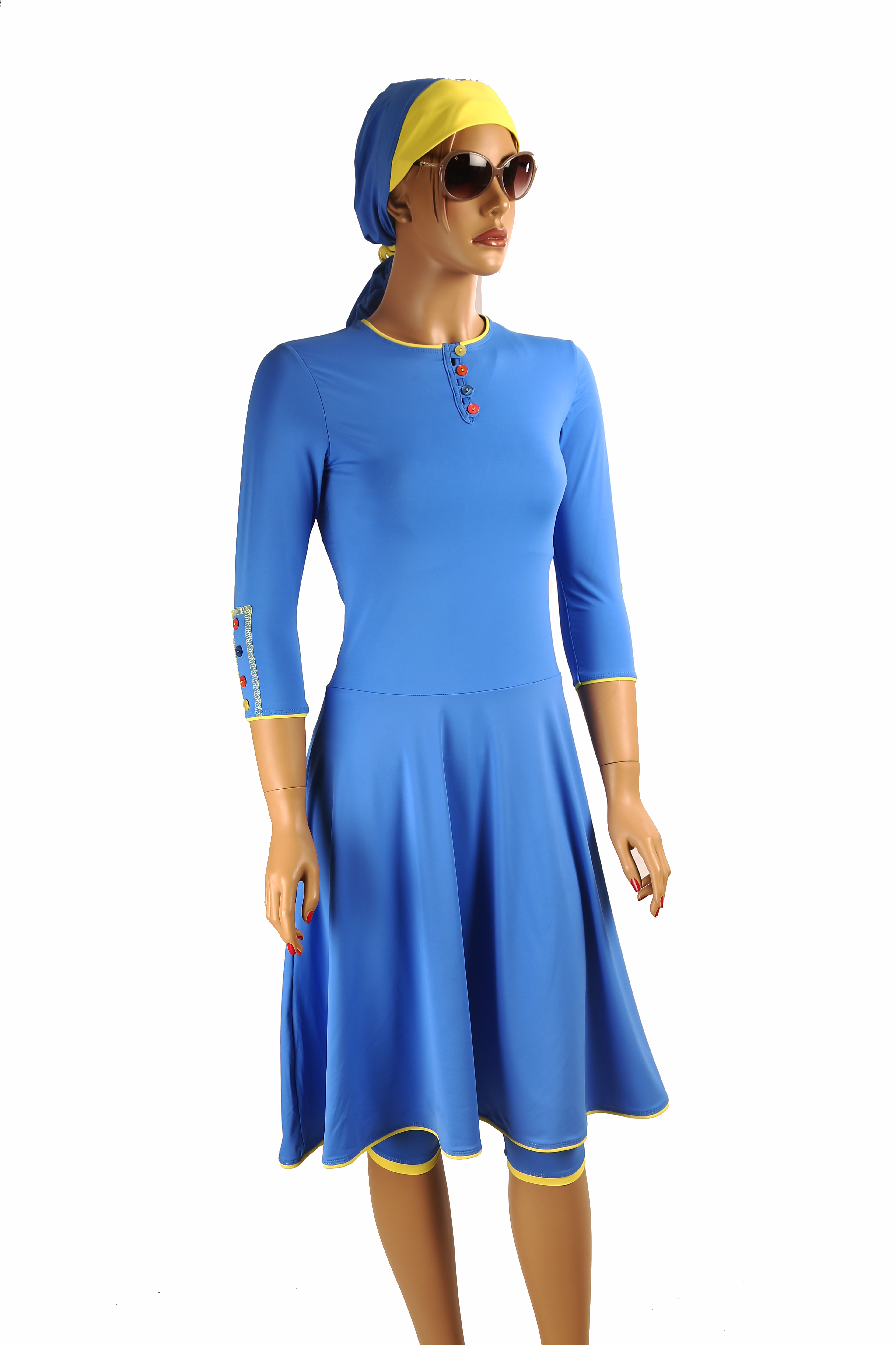 Ocean blue modest flared swim dress Discontinued products