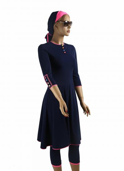 Front- Navy Ballet-modest swimdress