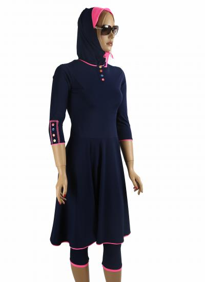 Front-Navy ballet muslim modest swimdress