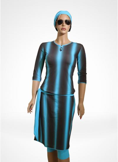 Front-Turquoise tunic modest swim wear.
