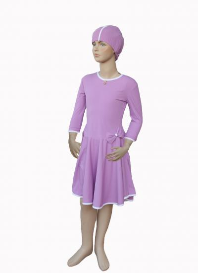 Lavender- front modest swimdress