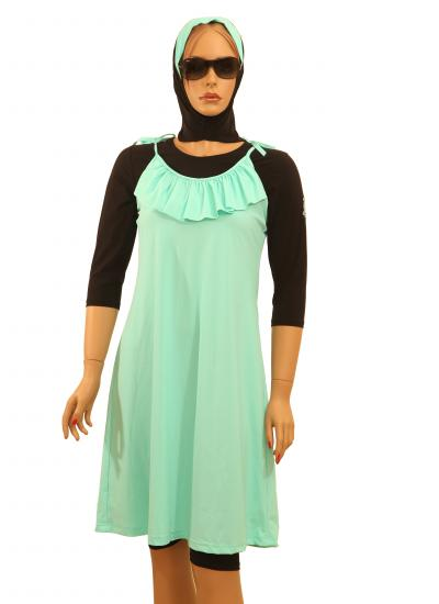 turquoise modest swimsuit with hijab