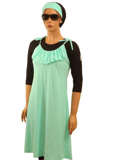 Front-Kineret turquoise modest swim wear