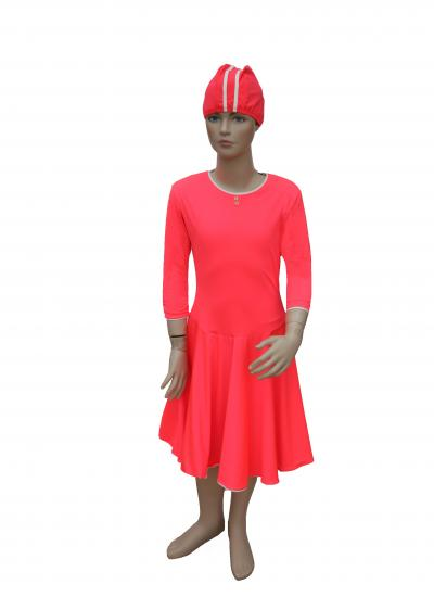 front-junior modest swimdress- coral and gold ballet