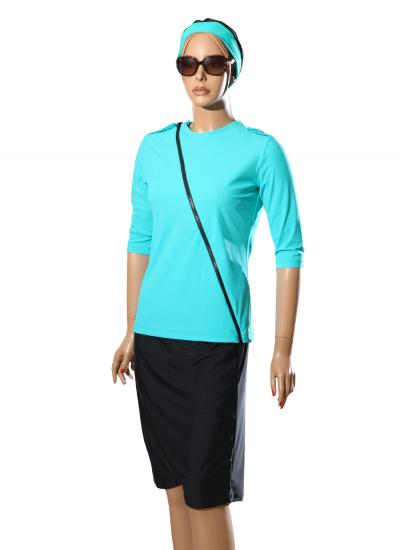 front-zip Turquoise modest swimwear