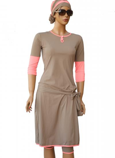 Pink Sand - modest swimdress front