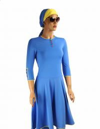 Front-Ocean flared modest swimdress