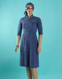 Front-military blue jean modest swim dress
