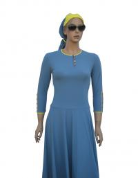 Front- Grey blue ballet modest swimdress