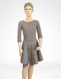 Front-Polka dot dress modest swim wear for kids