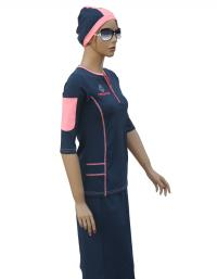 active navy modest swimsuit front