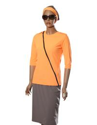 front-zip orange modest swimwear